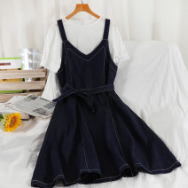 Dress Summer 2021 Tibetan blue S,M,L longuette Two piece set Short sleeve commute Crew neck High waist Solid color Socket A-line skirt routine camisole 18-24 years old Type A Korean version Splicing 51% (inclusive) - 70% (inclusive) Denim other