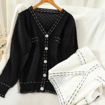 Wool knitwear Autumn 2020 Average size Black, white Long sleeves singleton  Cardigan acrylic fibres 51% (inclusive) - 70% (inclusive) Regular routine commute easy V-neck routine Single breasted Korean version 18-24 years old