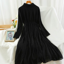 Dress Autumn 2020 black Average size longuette singleton  Long sleeves commute Crew neck High waist Solid color Socket other routine 18-24 years old Type A Korean version fold 51% (inclusive) - 70% (inclusive)