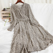 Dress Spring 2021 Black, apricot, khaki M, L longuette singleton  Long sleeves commute V-neck High waist Broken flowers Socket A-line skirt routine Others 25-29 years old Type A Korean version printing 51% (inclusive) - 70% (inclusive) Chiffon