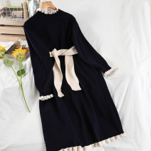 Dress Winter 2020 Average size longuette singleton  Long sleeves commute Half high collar Loose waist Solid color Socket A-line skirt routine 18-24 years old Type A Korean version Frenulum 51% (inclusive) - 70% (inclusive) knitting acrylic fibres