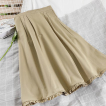skirt Spring 2021 Average size Black, white, khaki longuette commute High waist A-line skirt Solid color Type A 25-29 years old 51% (inclusive) - 70% (inclusive) other other fold Korean version