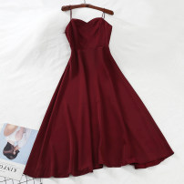 Dress Spring of 2019 S, M longuette singleton  Sleeveless commute other High waist Solid color zipper other other camisole 18-24 years old Type A Other / other Korean version 51% (inclusive) - 70% (inclusive) Chiffon other