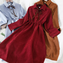 Dress Winter of 2019 Blue, green, red, apricot, black, brick red, khaki, navy blue, pink Average size Short skirt singleton  Long sleeves commute Polo collar High waist Solid color Socket other other Others 18-24 years old Type A Other / other Korean version 51% (inclusive) - 70% (inclusive)