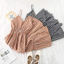 Dress Summer of 2019 Black, red, yellow, blue, caramel Average size Mid length dress singleton  Sleeveless commute V-neck High waist lattice Socket Big swing other camisole 18-24 years old Type A Other / other Korean version 51% (inclusive) - 70% (inclusive) other