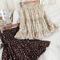 skirt Spring 2021 Average size Apricot, black, coffee Short skirt commute High waist A-line skirt Broken flowers Type A 18-24 years old 51% (inclusive) - 70% (inclusive) Chiffon other printing Korean version