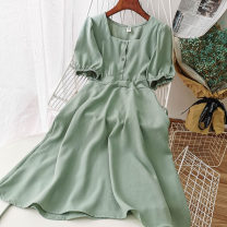 Dress Summer 2020 Blue, green, apricot, red, black, embroidered red, pink Average size Mid length dress singleton  Short sleeve commute square neck High waist Solid color Single breasted other other Others 18-24 years old Type A Korean version 51% (inclusive) - 70% (inclusive) Chiffon