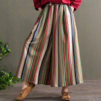 Casual pants Green stripe, red stripe Average size Summer of 2019 trousers Wide leg pants Natural waist commute routine 96% and above hz408 cotton literature cotton
