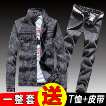 Jacket Other / other Youth fashion routine Self cultivation Other leisure autumn Long sleeves Wear out Lapel tide teenagers routine Single breasted 2019 Straight hem Closing sleeve Denim More than two bags) Digging bags with lids