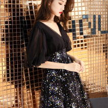 Dress / evening wear Weddings, adulthood parties, company annual meetings, daily appointments XS S M L XL XXL XXXL Black champagne grace Medium length middle-waisted Winter of 2018 A-line skirt Deep collar V zipper 18-25 years old XNJJF464 elbow sleeve Nail bead Abstract pattern puff sleeve other