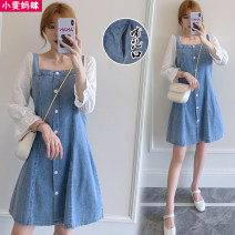 Dress Spring 2021 blue 50. 4XL, XL, XXL square neck design, XXL Korean style Mid length dress singleton  Nine point sleeve commute square neck Loose waist Solid color Socket A-line skirt pagoda sleeve Others Type A Other / other Korean version Button, lace 51% (inclusive) - 70% (inclusive) Denim
