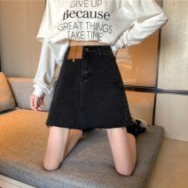 skirt Spring 2021 S,M,L,XL Blue, black Short skirt Versatile High waist Denim skirt Solid color Type A 18-24 years old 31% (inclusive) - 50% (inclusive) Denim