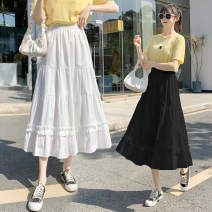 skirt Spring 2021 Average size White, black longuette commute High waist A-line skirt Solid color Type A 18-24 years old Lotus leaf edge Korean version