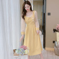 Dress Spring 2021 yellow S,M,L,XL Mid length dress singleton  Long sleeves commute square neck High waist Broken flowers Socket A-line skirt routine Others 18-24 years old Type A Korean version 31% (inclusive) - 50% (inclusive) polyester fiber