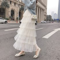 skirt Spring 2021 Apricot, white, black, pink longuette commute Natural waist Cake skirt Solid color Type A 18-24 years old other other Splicing Korean version