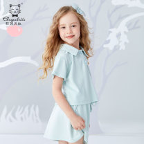 suit Choiyu Bella Sky blue light yellow pink 90cm 100cm 110cm 120cm 130cm 140cm 150cm 160cm female summer motion Short sleeve + skirt 2 pieces Thin money There are models in the real shooting Single breasted nothing Solid color cotton children Giving presents at school TCX21358 Class B Cotton 100%