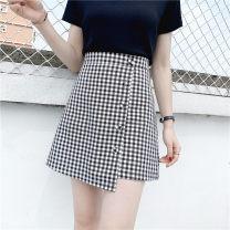 skirt Summer of 2019 M,L,XL,2XL,3XL,4XL Black and white Short skirt commute High waist Irregular lattice Type A 51% (inclusive) - 70% (inclusive) other Three dimensional decoration, asymmetry, button Korean version