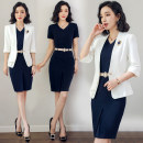 Professional dress suit S,M,L,XL,XXL,XXXL Navy, suit + dress Autumn of 2018 three quarter sleeve CQ6462- Jacket, other styles Suit skirt 25-35 years old AI Shangchen 96% and above polyester fiber