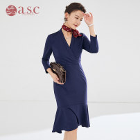 Dress Autumn of 2019 One piece dress S,M,L,XL Mid length dress singleton  Long sleeves commute V-neck middle-waisted Solid color zipper Ruffle Skirt other Others 25-29 years old AI Shangchen Ol style Q0154 More than 95% polyester fiber