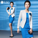Professional dress suit S,M,L,XL,XXL,XXXL White, blue, white suit + blue dress Fall 2017 Long sleeves C6001+Q6004 Jacket, other styles other 25-35 years old AI Shangchen 96% and above polyester fiber