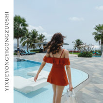 one piece  lyric M(70-95) L(95-105) XL(105-120) Orange Skirt one piece With chest pad without steel support nylon Summer of 2019 female Sleeveless Casual swimsuit Solid color Lotus leaf edge