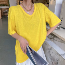 T-shirt yellow , Light green , Lake blue , khaki , coffee , Navy , Denim blue Average size Spring 2021 Short sleeve Crew neck easy Medium length routine commute cotton 86% (inclusive) -95% (inclusive) 18-24 years old Korean version other Solid color SS022