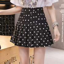skirt Summer 2021 S M L XL Black and white Short skirt Versatile High waist Pleated skirt Dot Type A 25-29 years old KX813 More than 95% Create color polyester fiber fold Polyester 100% Pure e-commerce (online only)