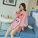 Dress Other / other Pink, pink high quality version [80% candidates] M,L,XL,XXL Korean version Long sleeves Medium length spring Crew neck shape Pure cotton (95% and above)