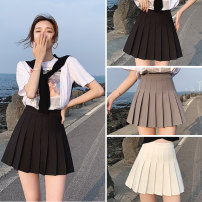 skirt Summer of 2019 XS S M L XL XXL White black gray Pink Short skirt Versatile High waist Pleated skirt Solid color Type A 18-24 years old Shang Yu Pure e-commerce (online only)