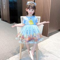 Dress female Bullet baby 90cm 100cm 110cm 120cm 130cm Polyester 100% summer princess Short sleeve Cartoon animation blending Cake skirt Summer 2021 12 months, 18 months, 2 years old, 3 years old, 4 years old, 5 years old, 6 years old