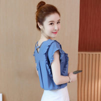 Lace / Chiffon Summer 2021 Blue, red, white, black [skirt] S,M,L,XL,2XL Short sleeve commute Socket singleton  easy Regular V-neck Solid color Lotus leaf sleeve 25-29 years old 8131# Flounce, hollow out, fold, auricle, splicing, three-dimensional decoration Korean version polyester fiber