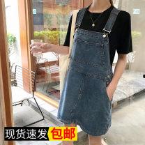 Dress Summer of 2019 blue S. M, l, XL, XXXs pre-sale Miniskirt singleton  commute Solid color straps Other / other 51% (inclusive) - 70% (inclusive)