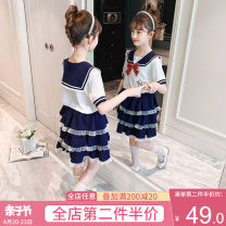 suit Artemisia argyi white 110cm 120cm 130cm 140cm 150cm 160cm female summer college Short sleeve + skirt 2 pieces routine There are models in the real shooting Socket nothing other other children Expression of love F1146 Navy collar dress Class B Other 100% Summer 2021 Chinese Mainland