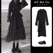 Dress Spring 2021 Floral Dress (French first love dress in early spring / tea break dress / cold wind women's dress with high-grade feeling / small, luxurious and famous lady's dress on the street / retro and gentle temperament) S M L XL 2XL 3XL 4XL Mid length dress singleton  Long sleeves commute