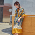 Dress Summer 2021 Decor yellow edge S,M,L Mid length dress singleton  Short sleeve commute Lotus leaf collar Loose waist Decor Socket Ruffle Skirt pagoda sleeve Others Type A Other / other Korean version 91% (inclusive) - 95% (inclusive) other