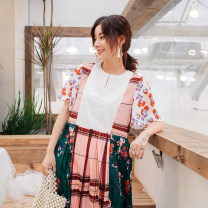 Dress Summer 2020 Decor S, M longuette singleton  elbow sleeve street Crew neck Loose waist Decor Socket Big swing raglan sleeve Others Type H Pleated, stitched, printed More than 95% other polyester fiber Europe and America