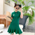 Dress Summer 2020 green S,M,L Mid length dress singleton  Short sleeve commute Polo collar Loose waist Solid color Three buttons Ruffle Skirt routine Others Type A Boudoir style Korean version Embroidery More than 95% other cotton