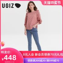 shirt Re black / BK red S M Summer 2021 other 96% and above three quarter sleeve commute Regular Crew neck Socket routine Dot 25-29 years old Straight cylinder UGIZ Korean version UBSE801 Other 100% Same model in shopping mall (sold online and offline)