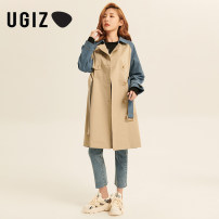 Windbreaker Spring 2021 S M Beige / be Long sleeves routine Medium length commute Single breasted tailored collar routine Solid color Straight cylinder Korean version UGIZ UAHE131 25-29 years old 96% and above other cotton Other 100% Same model in shopping mall (sold online and offline)