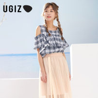 shirt Dark blue / Na sky blue / sb 80/XS 85/S 90/M Summer of 2018 cotton 96% and above Short sleeve other Regular Crew neck Socket pagoda sleeve lattice 25-29 years old UGIZ UBSB581A Cotton 100% Same model in shopping mall (sold online and offline)