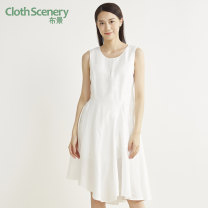 Dress Summer of 2019 white S M L Mid length dress singleton  Sleeveless commute Crew neck middle-waisted other Socket Pleated skirt other straps 25-29 years old Type A Cloth scene literature straps BW92LB1478H More than 95% other hemp Flax 100% Same model in shopping mall (sold online and offline)
