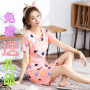 Nightdress Other / other M pure cotton l pure cotton XL pure cotton XXL pure cotton XXL pure cotton Cartoon Short sleeve pajamas Middle-skirt summer