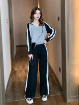 Women's large Winter of 2019, autumn of 2019 Grey suit, black suit M【90-105】,L【105-120】,XL【120-140】,2XL【140-160】,3XL【160-180】,4XL【180-200】 Two piece set Long sleeves 96% and above