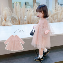 Dress Bubble sleeve skirt with smooth upper body female Tongsen Tongma 90cm 100cm 110cm 120cm 130cm 140cm Other 100% spring and autumn Long sleeves Solid color other Splicing style TSXP1556-1 Class B Spring 2021
