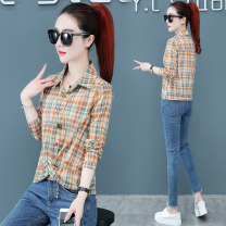 shirt Orange green M L XL 2XL Spring 2021 cotton 96% and above Long sleeves commute Regular Polo collar Socket routine lattice 30-34 years old Straight cylinder Yilianba Korean version LEL6601--.--- Stitching nail bead patch Cotton 100% Pure e-commerce (online only)