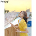 Dress Summer 2021 yellow S M L Middle-skirt singleton  Short sleeve commute V-neck High waist Solid color zipper A-line skirt puff sleeve Others 18-24 years old Palglg Three dimensional decorative button zipper with pleated stitching 02PD10288 51% (inclusive) - 70% (inclusive) polyester fiber