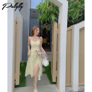 Dress Summer 2021 Design and color dress yellow sunscreen shirt Necklace S M L average code Mid length dress singleton  Sleeveless commute V-neck High waist zipper Big swing camisole 25-29 years old Palglg Chain stitching mesh zipper 12PD12746 More than 95% other other Other 100%