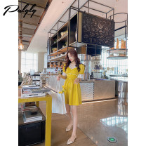 Dress Summer 2021 Yellow dress S M L Middle-skirt singleton  Short sleeve commute V-neck High waist Solid color zipper Big swing puff sleeve Others 18-24 years old Palglg Korean version Cut out pleated strap button zipper lace 02PD10589 More than 95% other Other 100% Pure e-commerce (online only)