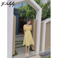 Dress Summer 2021 yellow S M L Mid length dress singleton  Short sleeve Sweet High waist zipper Big swing routine 25-29 years old Palglg Bright silk three dimensional decorative zipper 12PD12785 More than 95% other other Other 100% Pure e-commerce (online only)