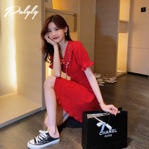 Dress Summer 2021 Red dress S M L Middle-skirt singleton  Short sleeve commute Double collar High waist Solid color zipper Big swing puff sleeve Others 18-24 years old Palglg Korean version Pleated Beaded zipper 02PD10952 More than 95% other Other 100% Pure e-commerce (online only)